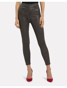 Ali High Rise Charcoal Leather Pants by Frame