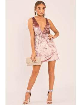 Esmi Rose Velvet Plunge Mini Dress by In The Style