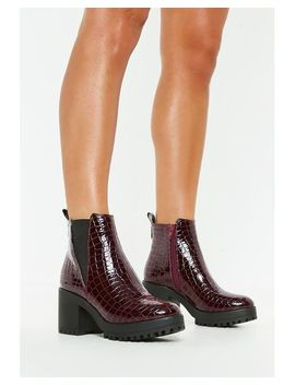 Women's Purple Burgundy Croc Chunky Chelsea Ankle Boots by Missguided