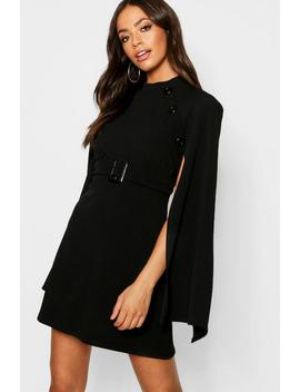 Funnel Neck Button Belted Cape Sleeve Dress by Boohoo