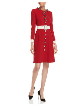 Red Belted Bauble Long Sleeve Dress by Dolce&Gabbana