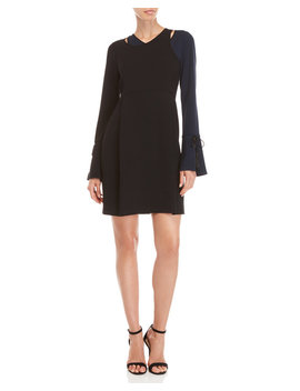 Color Block Asymmetrical Bell Sleeve Dress by Derek Lam 10 Crosby