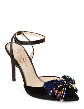 Black Pearlanna Sequin Bow Velvet Pumps by Jessica Simpson