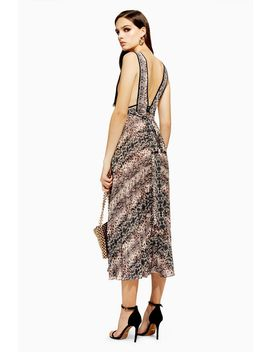 Snake Pleated Pinafore Dress by Topshop