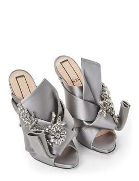Grey Embellished Satin Mule Pumps by No. 21