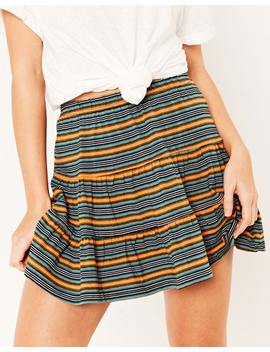 Floaty Hem Striped Skirt by Glassons