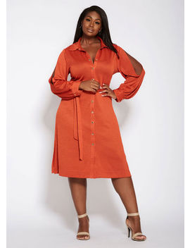 Slit Sleeve Belted Shirt Dress by Ashley Stewart