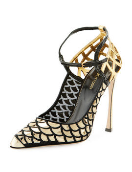 Scale & Cutout Leather Ankle Strap Pumps by Sergio Rossi