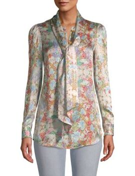 Floral Tie Neck Silk Blouse by Pierre Balmain