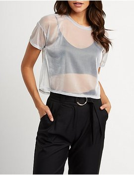 Metallic Mesh Crop Top by Charlotte Russe