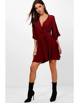 Wrap Front Belted Wide Sleeve Dress by Boohoo