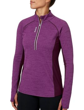 Reebok Women's Cold Weather Compression Space Dye Quarter Zip Long Sleeve Shirt by Reebok