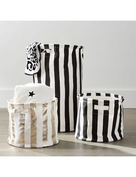 The Emily & Meritt Circus Stripe Storage Bins, Medium, Gold/White Stripe by P Bteen