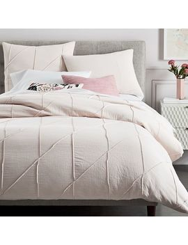 Pleated Grid Duvet Cover   Pink Blush by West Elm