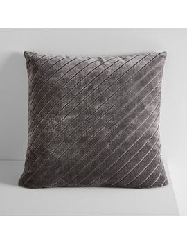 Diagonal Stripe Velvet Pillow Cover   Slate by West Elm