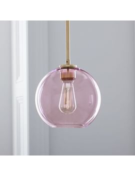 Sculptural Glass Globe Pendant   Small (Dusty Blush) by West Elm
