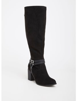 Black Faux Suede Strappy Boot (Wide Width) by Torrid
