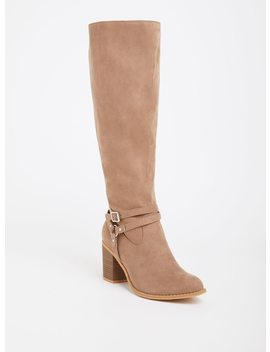 Tan Faux Suede Strappy Boot (Wide Width) by Torrid
