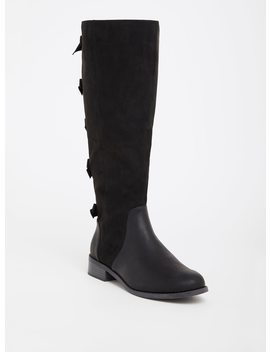 Black Bow Faux Suede Boot (Wide Width) by Torrid
