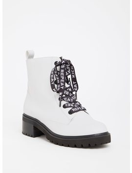White Faux Leather Combat Boot (Wide Width) by Torrid