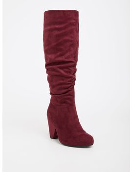 Wine Faux Suede Cone Over The Knee Boot (Wide Width) by Torrid