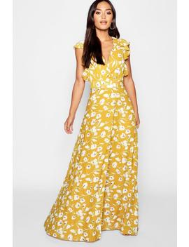 Petite Floral Detail Wrap Maxi Dress by Boohoo