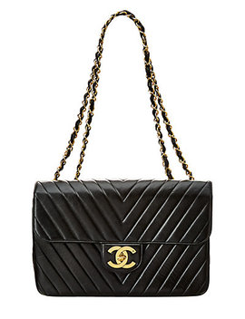 Chanel Black Lambskin Leather Chevron Maxi Single Flap Bag by Chanel