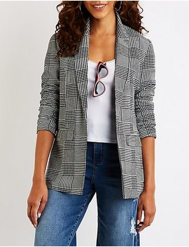 Glen Plaid Boyfriend Blazer by Charlotte Russe