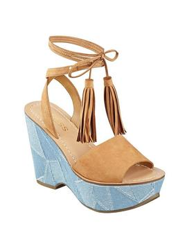 Denaya Lace Up Flatform Sandals by Guess