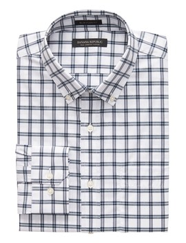 New Slim Fit Tech Stretch Cotton Windowpane Shirt by Banana Repbulic