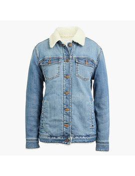 Oversized Sherpa Lined Denim Jacket by J.Crew
