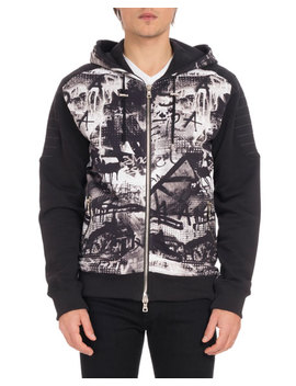 Men's Graffiti Print Zip Front Hoodie Sweatshirt by Balmain