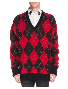 Men's Oversized Wool Argyle Sweater by Alexander Mc Queen