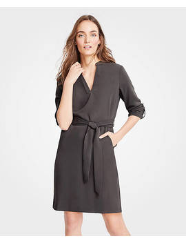 Roll Tab Sleeve Belted Shirtdress by Ann Taylor
