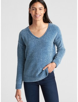 Chenille V Neck Pullover Sweater by Gap