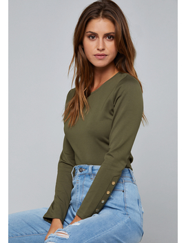Snap Long Sleeve Top by Bebe