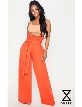 Shape Orange  High Waist Paperbag Wide Leg Trousers by Prettylittlething