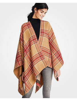 Reversible Windowpane Poncho by Ann Taylor