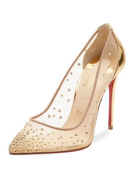 Follies Strass Crystal Mesh Red Sole Pumps by Christian Louboutin