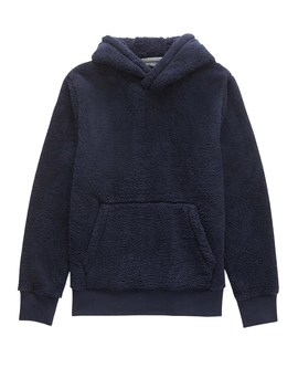Solid Sherpa Fleece Hoodie by Banana Repbulic