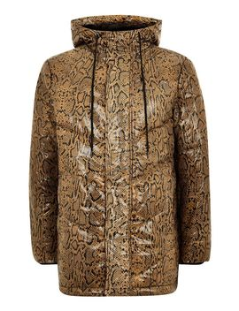 Real Leather Snake Printed Puffer Jacket by Topman