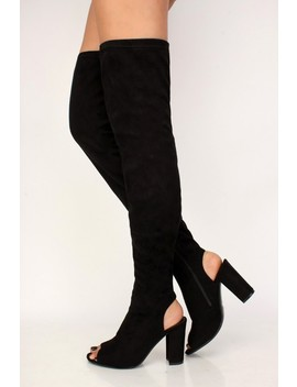 Sexy Black Peep Toe Chunky High Heels Thigh High Boots Faux Suede by Ami Clubwear