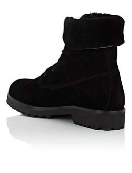 Shearling Trimmed Suede Ankle Boots by Barneys New York