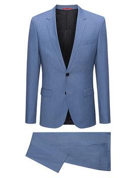 Extra Slim Fit Melange Virgin Wool Suit by Boss
