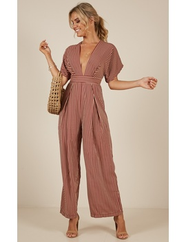 Midnight City Jumpsuit In Wine Stripe by Showpo Fashion