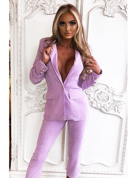 Lilac Corduroy Gold Button Blazer   Charissa by Rebellious Fashion