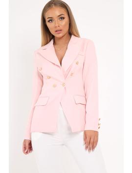 Pink Double Gold Button Blazer   Meka by Rebellious Fashion