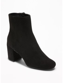 Sueded Block Heel Boots For Women by Old Navy