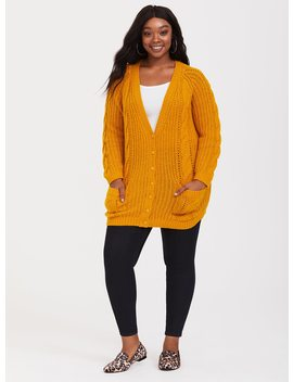 Yellow Cable Stitched Knit Cardigan by Torrid