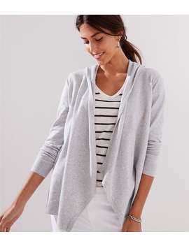 Petite Hooded Open Cardigan by Loft